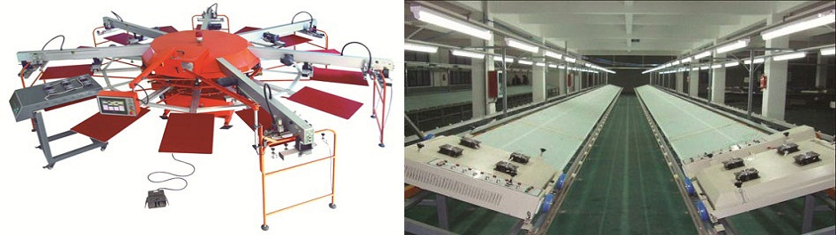 Textile automatic octopus screen printing machine & Textile glass table